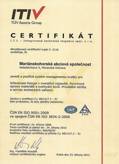 certiifikát TÜV Austria Group
